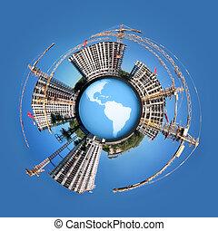 bâtiment, propriété, collage, panorama, logement, la terre, cercle, globe