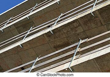 bâtiment, protection, sous, site, rails, détail, construction, automne