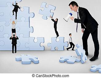 bâtiment, puzzle, equipe affaires