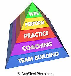 bâtiment, pyramide, gagner, pratique, illustration, entraînement, équipe, performance, 3d
