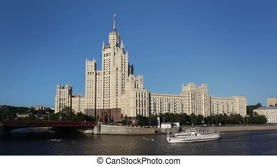 bâtiment, quai, kotelnicheskaya, haut-ascension, staline, temps