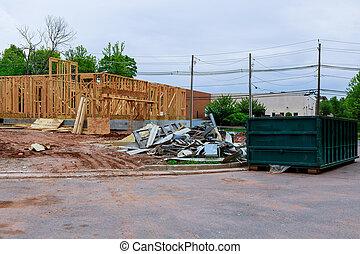 bâtiment, récipient, cadre, recyclage, bois, multi-family, construction, déchets ménagers, logement