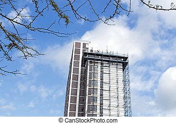 bâtiment, rénovations, échafaudage, subir, gratte-ciel