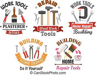 bâtiment, réparation, ensemble, travail, outils, insignes