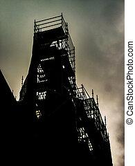 bâtiment, réparation, vue extérieure