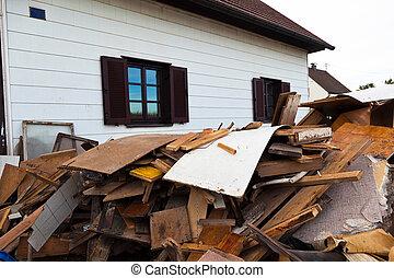 bâtiment, résidentiel, évacuation