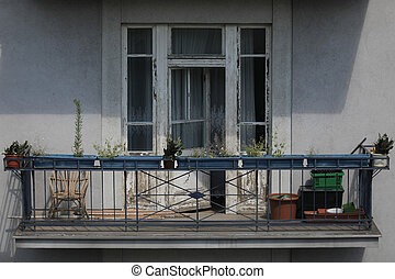 bâtiment, résidentiel, balcon, vue