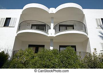 bâtiment, résidentiel, balcons