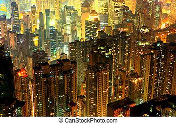 bâtiment, résidentiel, bondé, nuit