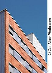 bâtiment, résidentiel, brique, extérieur, béton