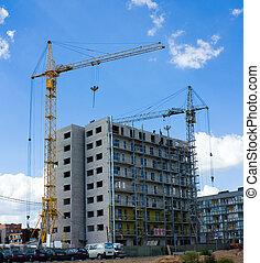 bâtiment, résidentiel, construction, moderne