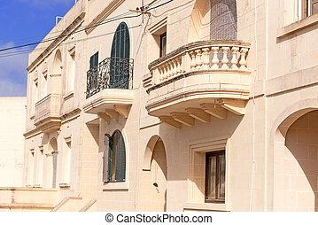 bâtiment, résidentiel, façade, balcon