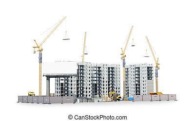 bâtiment, résidentiel, materials., illustration, construction, complexe, nouveau, territoire, 3d