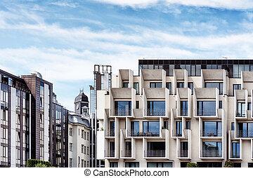 bâtiment, résidentiel, moderne, riga