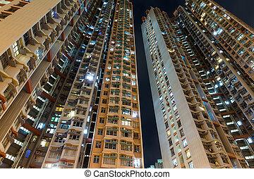 bâtiment, résidentiel, nuit