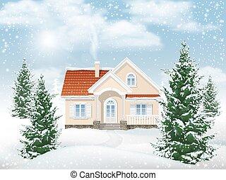 bâtiment, résidentiel, paysage hiver
