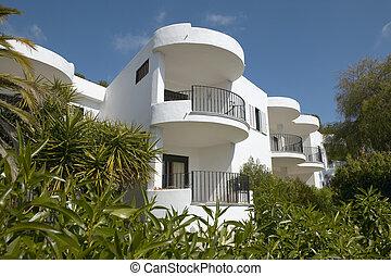 bâtiment, résidentiel, place., méditerranéen, balcons