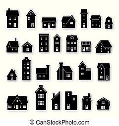 bâtiment, résidentiel, silhouette