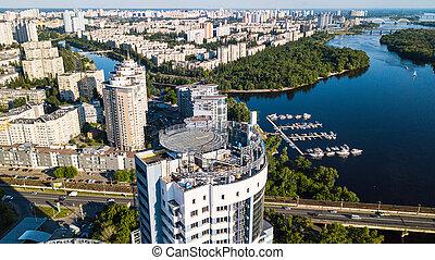bâtiment, résidentiel, sommet, haut-ascension, dniepr, site, construction, rivière, vue