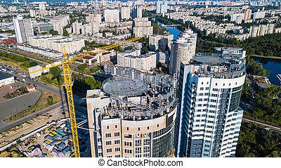 bâtiment, résidentiel, sommet, haut-ascension, site, construction, vue
