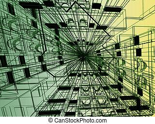 bâtiment, résumé, moderne,  render,  3D