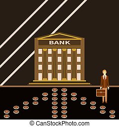 bâtiment, réussi, jeune, banque, homme affaires