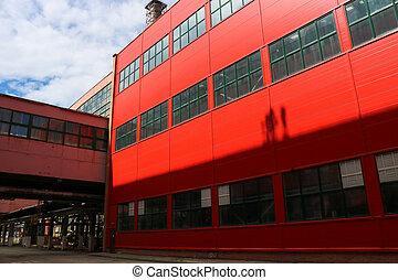 bâtiment, rangement, plante, industriel, centre, incoterms, fenetres, grand, logistique, équipement, livraison, entrepôt, conditions, rouges