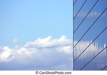 bâtiment, reflété, business