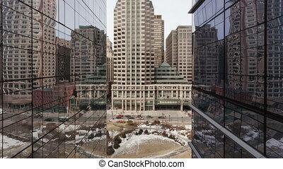 bâtiment, reflet, bureau, défaillance, trafic, 4k, temps