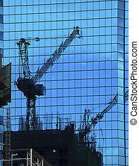 bâtiment, reflet, constructio