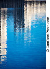 bâtiment, reflet, lisser, surface, eau, fond