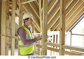 bâtiment, regarder, inspecteur, propriété, nouveau