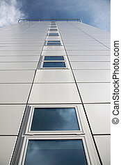 bâtiment, regarder, moderne, haut