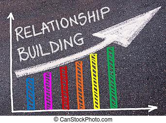 bâtiment, relation, coloré, graphique, sur, écrit, levée, ...