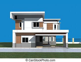 bâtiment, render, 3d