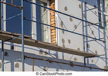 bâtiment, renovation., échafaudage, processus, maison, ...