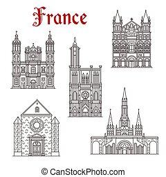bâtiment, repère, francais, voyage, icône religieuse