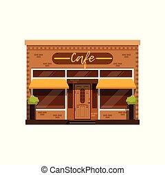 bâtiment, restaurant, vitrine, illustration, façade, vecteur, café