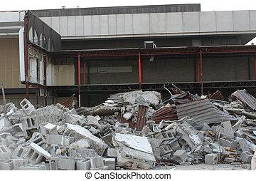 bâtiment, restes, site démolition