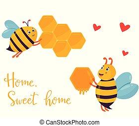 bâtiment, rigolote, abeilles, image, deux, clair, beehouse