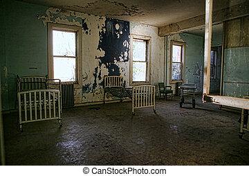 bâtiment, rouillé, lits hôpital, delapidated, vide