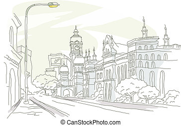 bâtiment, rue, extérieur