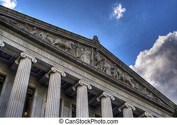 bâtiment, sacramento, cours, hdr, bibliothèque