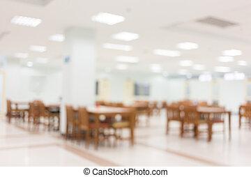 bâtiment, salle, résumé, brouillé, chaise, fond, décoré, blanc, table