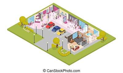 bâtiment, salon, beauté, isométrique, illustration, charme, intérieur