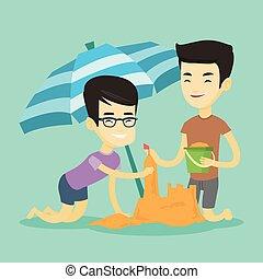 bâtiment, sandcastle, plage., amis, deux