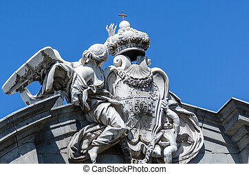 bâtiment, sculptures, madrid, ciel, fond, façade