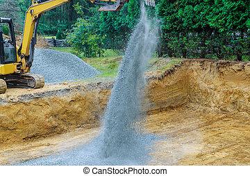 bâtiment, seau, creuser, pelleter, gravier, fondation, excavateur