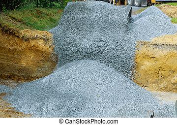 bâtiment, seau, fondation, pelleter, fin, gravier, excavateur, haut