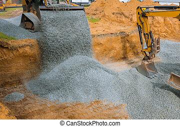 bâtiment, seau, fondation, pierres, gravier, en mouvement, excavateur